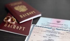 паспорт и свидетельство о расторжении брака